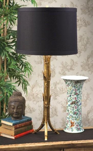 Gold Faux Bamboo Tripod Lamp