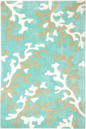 Coral Fixation Fusion Plush Rug Green Blue