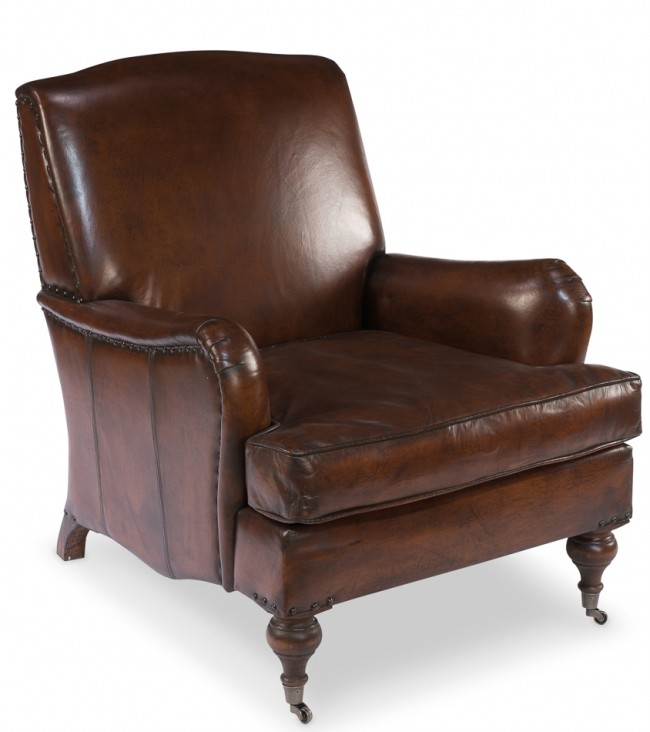 Port Talbot Leather Roll Arm English Chair