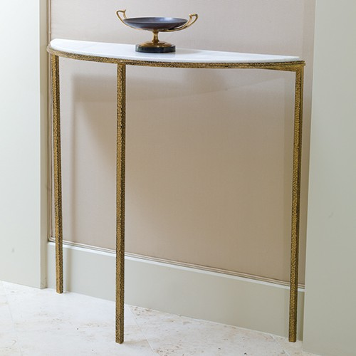 Global Views Kyoto Media Cabinet: Hammered Gold Marble Console Table
