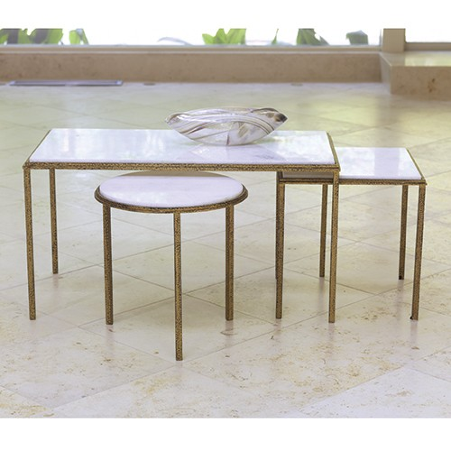 Hammered Gold Marble Cocktail Table