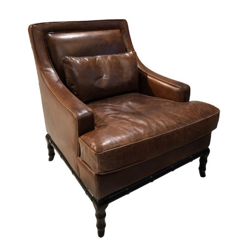 Espresso Leather Tufted Caster Chair New