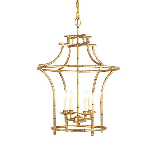 Antique Gold Faux Bamboo Chandelier