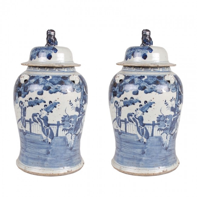 Pair Of Ming Dynasty Baluster Vases