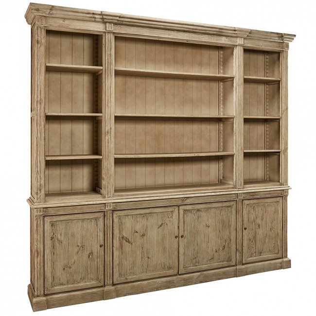 Solid Wood Triple Bookcase With Cabinets