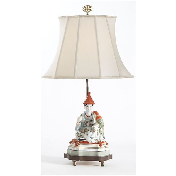 Chinese Woman Figure Porcelain Table Lamp