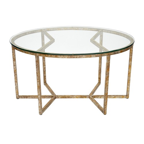 Antiqued geo oval glass coffee table Geo glass coffee table