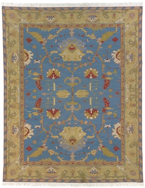 Soumak Luxury Wool Rug French Blue Gold