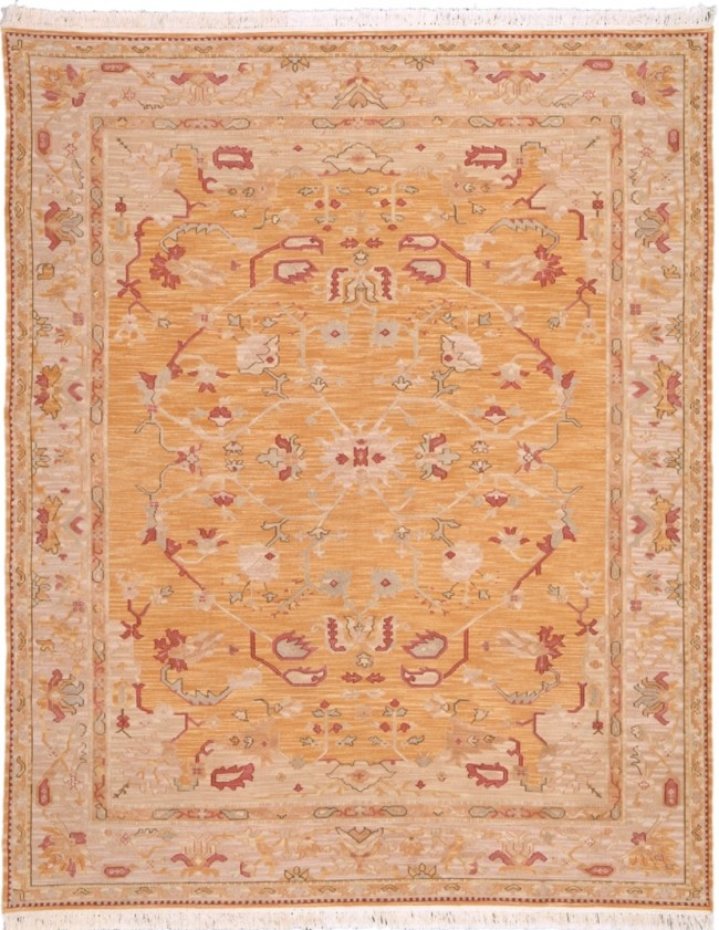 Soumak Luxury Wool Rug Gold Red