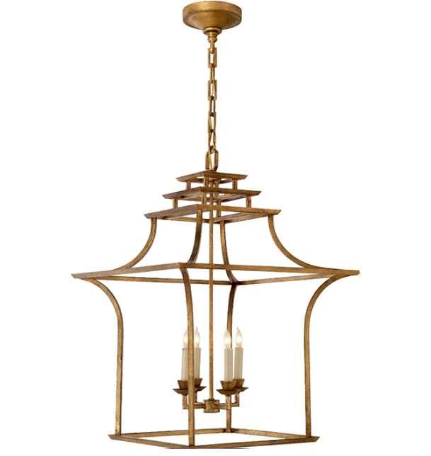 Gold pagoda lantern chandelier new aloadofball Image collections