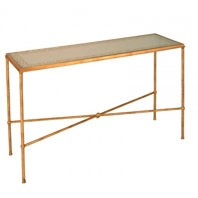Home Greek Key Iron Reversed Glass Console Table Zoom