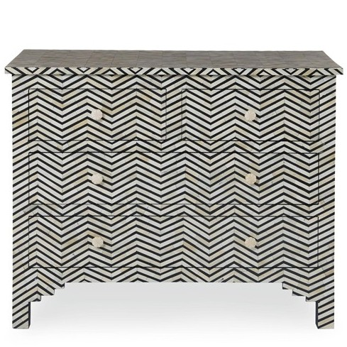 black or white furniture. bone inlay chevron chest black u0026 white navy or blue furniture