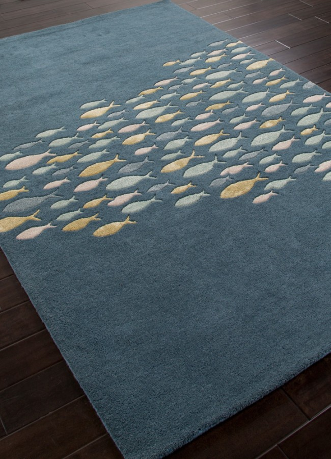plush hand tufted school of fish coastal living wool rug blue