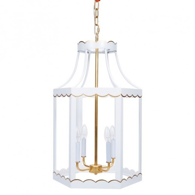 Lilly White Gold Scalloped Lantern New