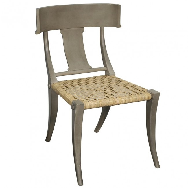 home klismos rattan chair dining chair dusk gray