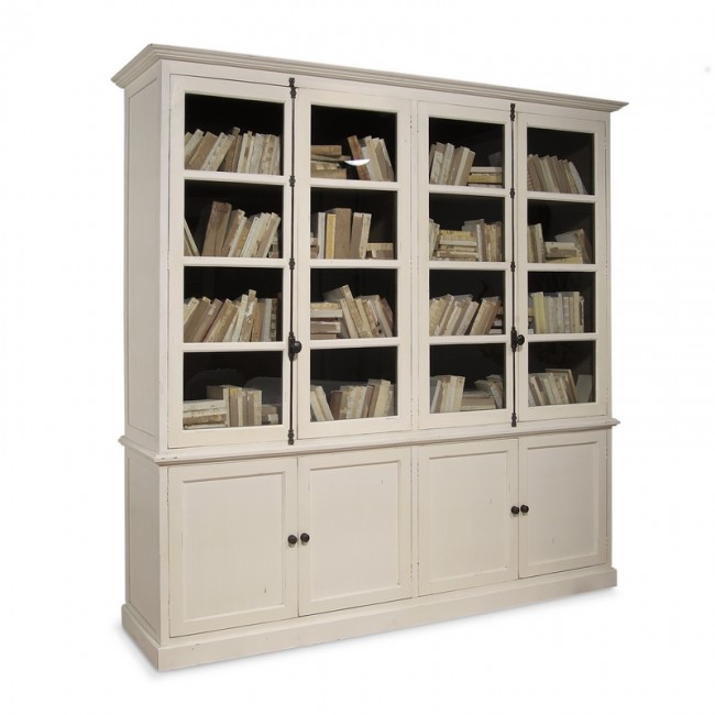 Inga Swedish Four Door Tall Bookcase Cabinet