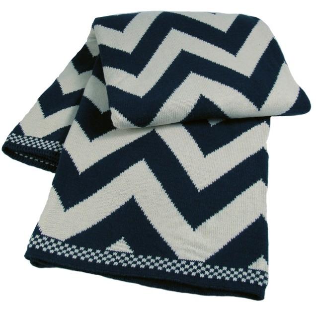 Chevron Luxury Cotton Throw Blanket Navy New Navy Cotton Throw Blanket