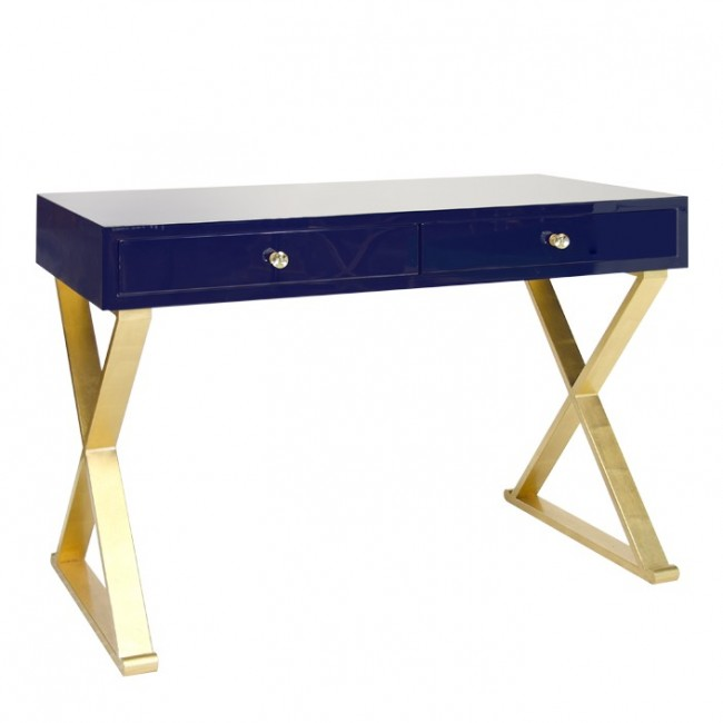 Beverly Navy Lacquer Gold Desk Finishes