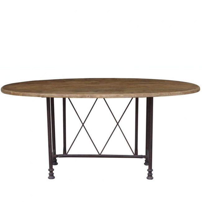 French Country Coffee Table Sets: French Country Reclaimed Pine And Iron Oval Table