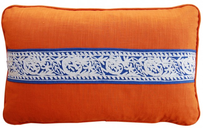 Linen and Crewel Tape Luxury Pillows Orange Blue