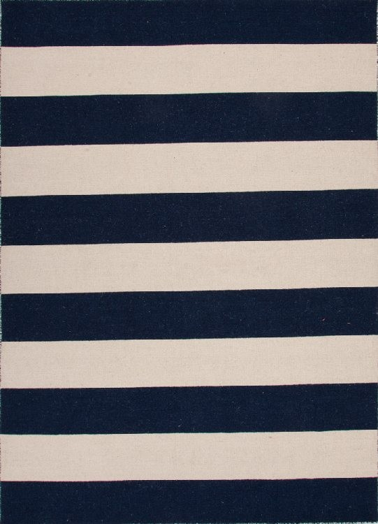 Striped Pura Vida Wool Rug Blue White