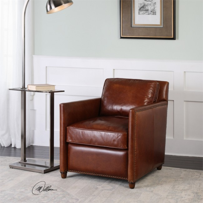 Albany Cognac Leather Club Chair