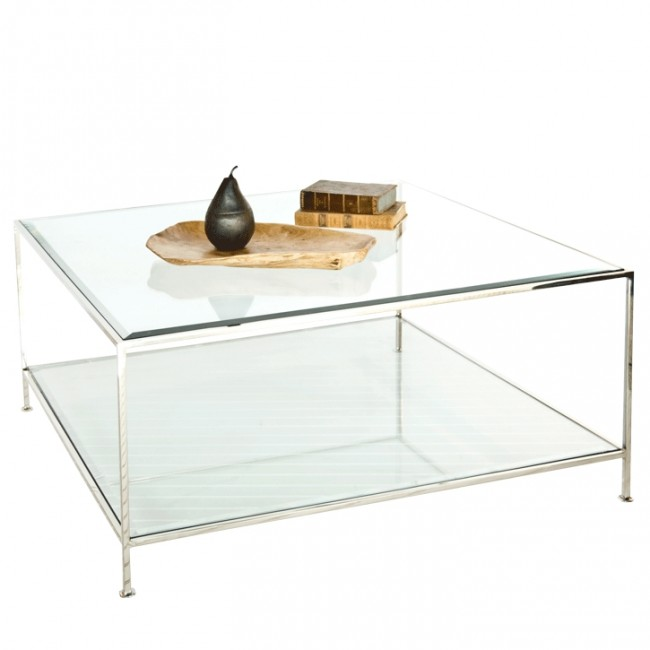Glass And Silver Square Coffee Table: Southbury Gold Leaf Glass Square Coffee Table