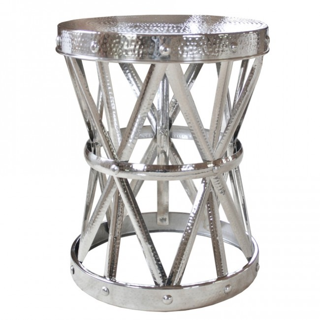 silver chinese garden stool barrel table