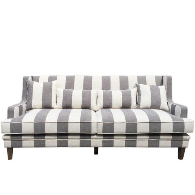 Gray And White Bedroom Furniture: Gray And White Striped Sofa