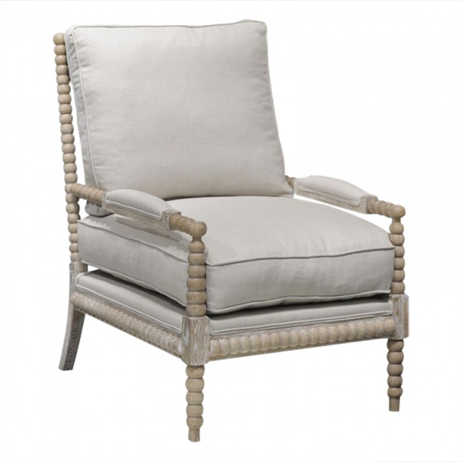 pair of two spool chairs linen & down