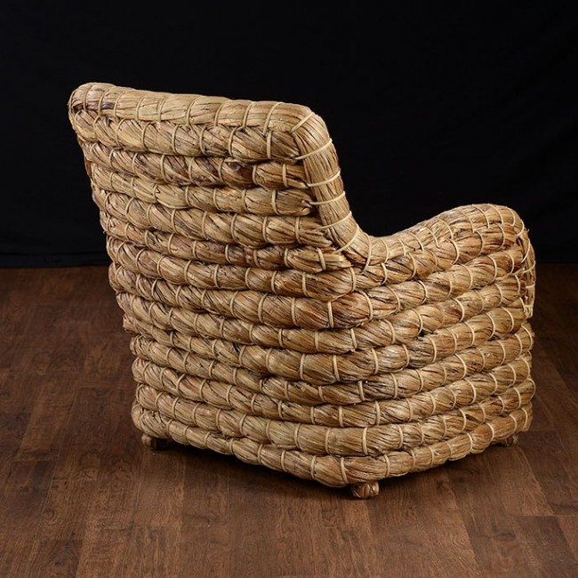 St Simons Woven Natural Fiber Braided Club Chair