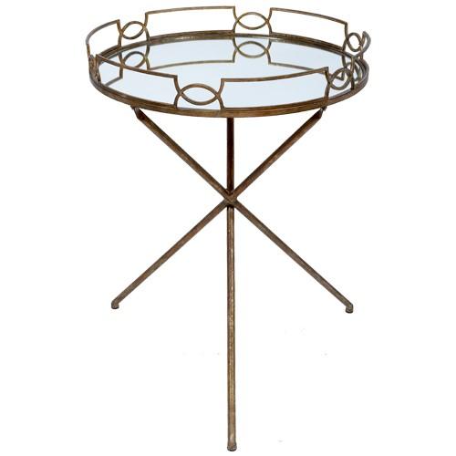 Amanda Gold Mirrored Drinks Tray Table