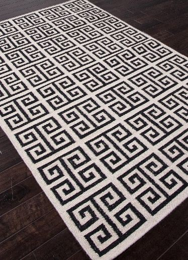 Greek Key Flat Wool Rug Black White Limited Zoom