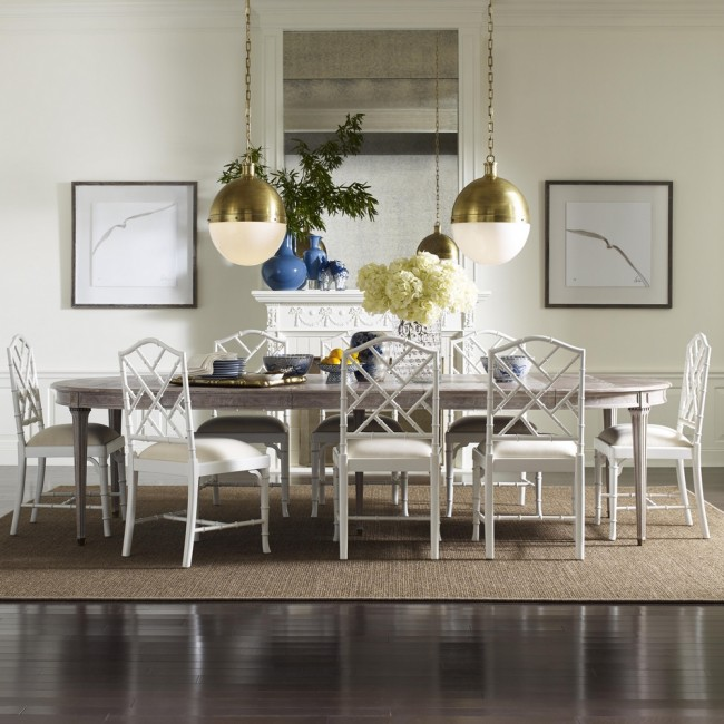 Expandable Dining Table | Brookville Graywash Luxury Mahogany Expanding Dining Table