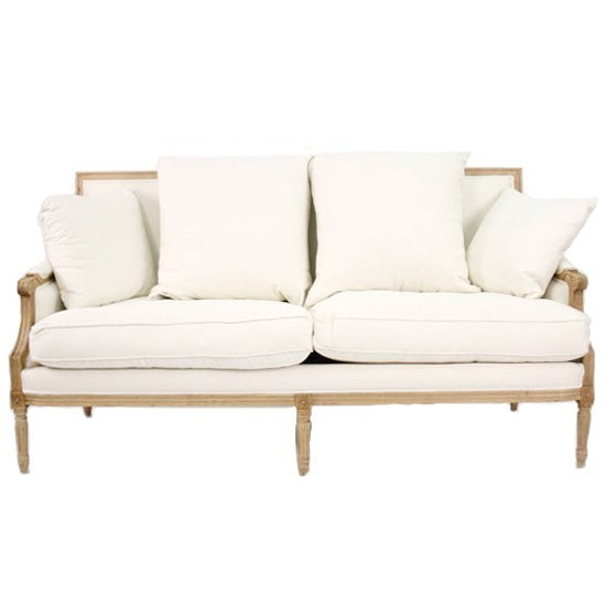 Louis Clic Down Settee Sofa In Cream And Linen Sizes
