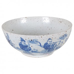 Porcelain Blue and White Speckled Bowl with Figures