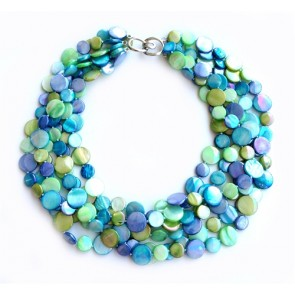 Mother Of Pearl Necklace Blue and Green (Multi colors and sizes)