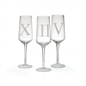 Twelve Frosted Roman Numial Party Champagne Glasses