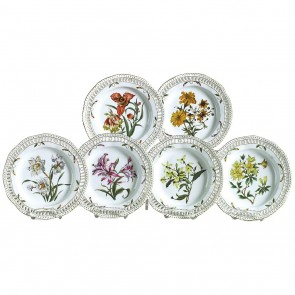 Six Hand-Painted Flower Plates