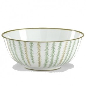 Hand-Painted Green & Gold Porcelain Bowl
