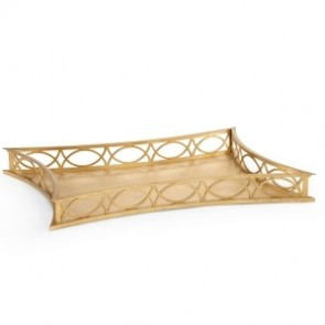 Large Fretwork Gold Designer Ottoman Tray