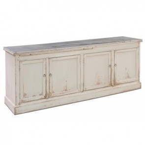 Scandinavian Antiqued Pine Marble Top Sideboard