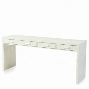 Extra Long Ivory Lacquer Console Table NEW!