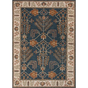 Hand Tufted Plush Poeme Berries Wool Rug Navy