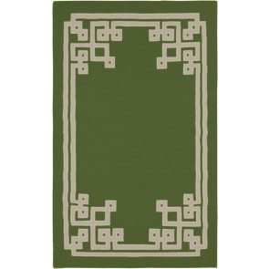 Fret Collection Wool Flat Weave Rug Garden Green (NEW)