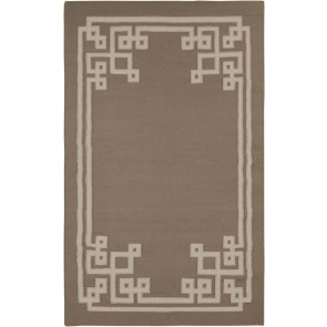 Fret Collection Wool Flat Weave Rug Taupe Silver (NEW)