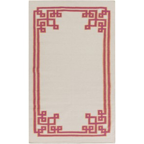 Fret Collection Wool Flat Weave Rug Taupe White Pink (NEW)
