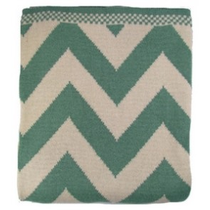 Chevron Luxury Cotton Throw Blanket Aqua