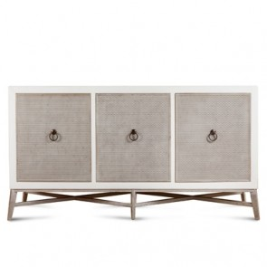 Hudson Modern Beaded Cabinet White and Silver (NEW)