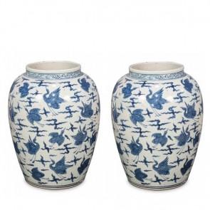 Pair of Two Blue & White Ming Birds Vase Jars